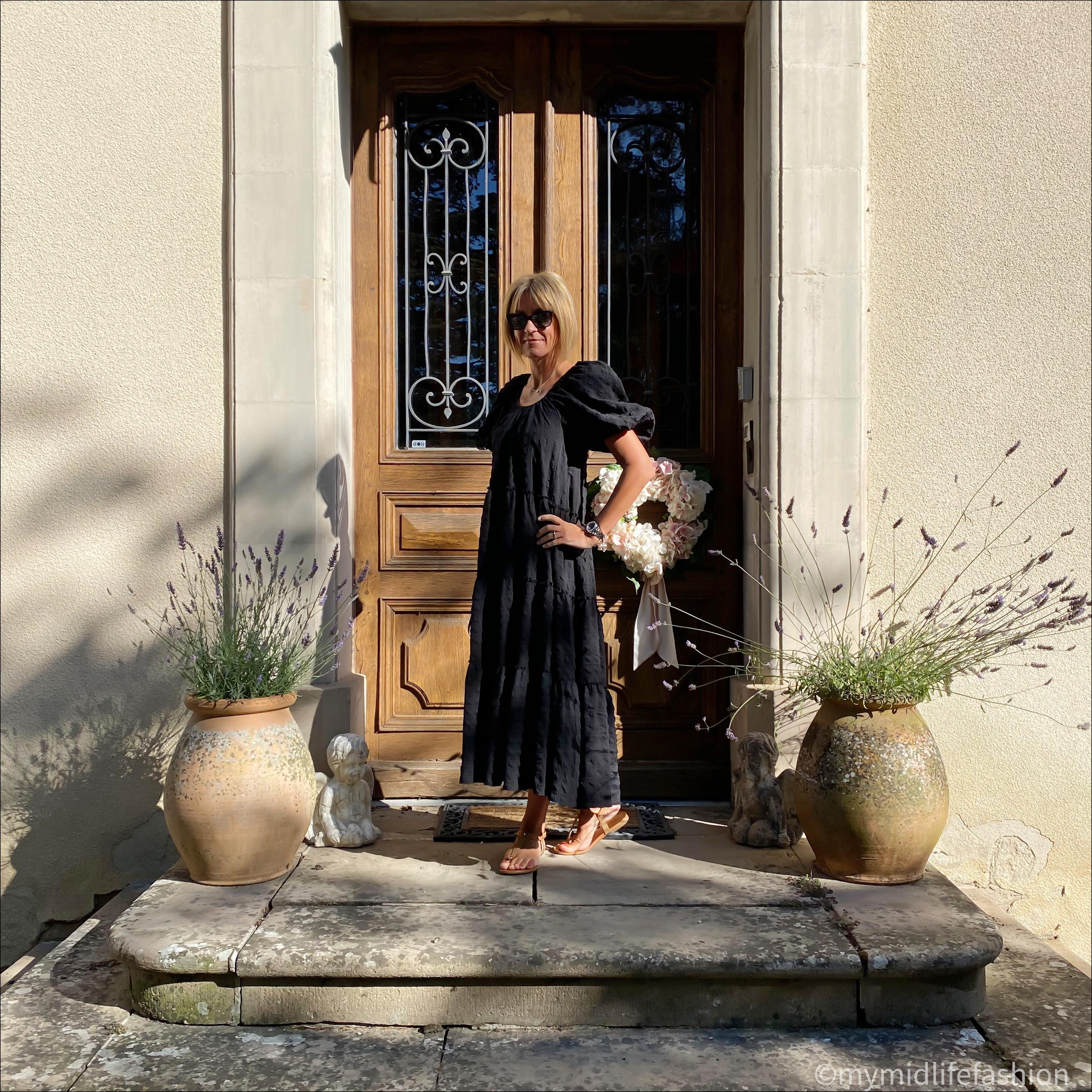 my midlife fashion, zara voluminous maxi dress, carvela thong sandals