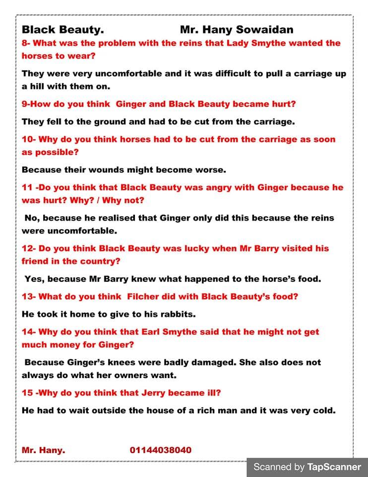 مراجعه أسئلة قصه اللغه الانجليزيه للصف الثالث الاعدادي ترم ثاني  مستر/ هاني سويدان 2