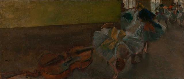 Эдгар Дега - Танцовщицы в комнате с контрабасом (ок.1882-1885)