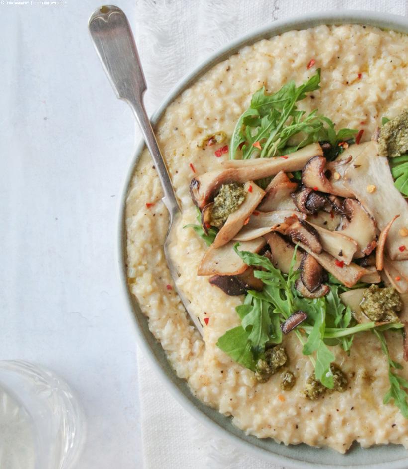 Blumenkohl-Risotto mit Pilzen