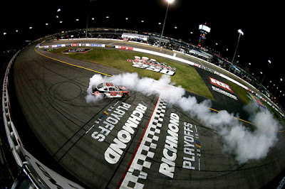 Bell celebrates after winning the NASCAR Xfinity Series GoBowling 250