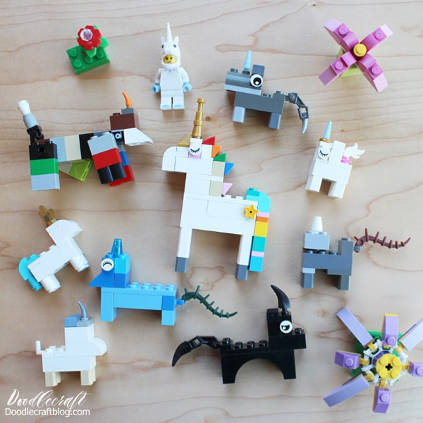 How to build a Lego Unicorn 10 different ways...plus the most epic Lego Unicorn with a rainbow colored mane, gold tiara and horn, rainbow colored waterfall tail and star cutie mark on the flank!