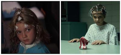 Drew Barrymore en Ojos de Fuego y la niña de Stranger Things, ambas con poderes