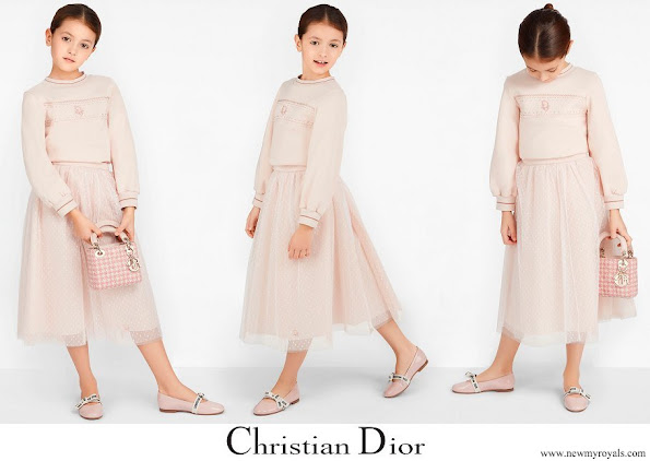 Princess Gabriella wore a Dior pale pink polka-dot knit long skirt