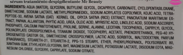 ingredientes serum tratamiento despigmentante Mc Beauty