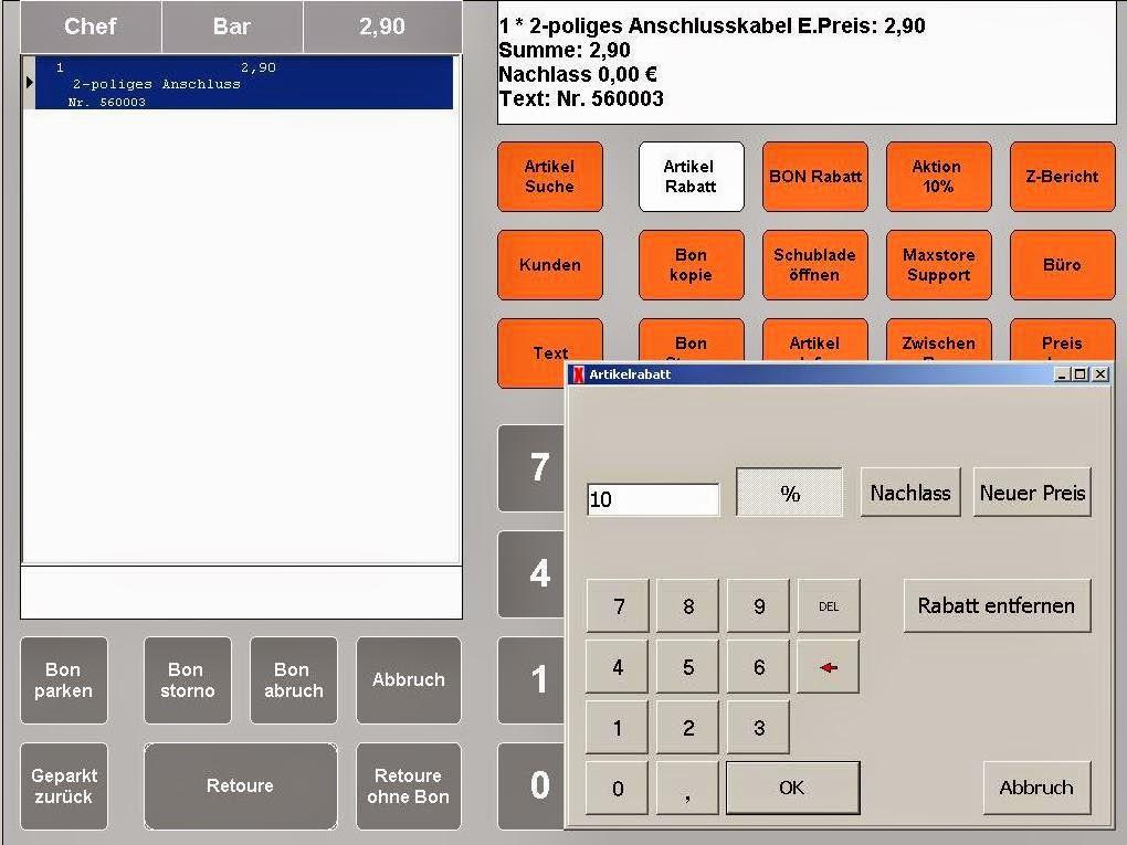 Kassensoftware Rabatte