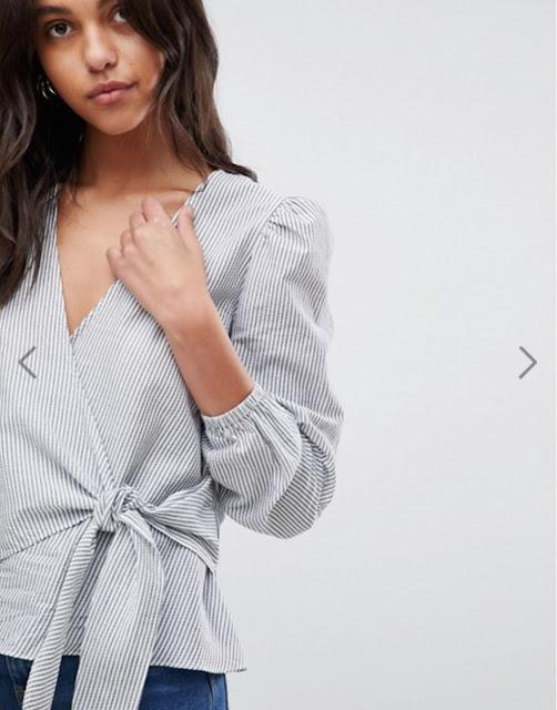 river island wrap front stripe blouse