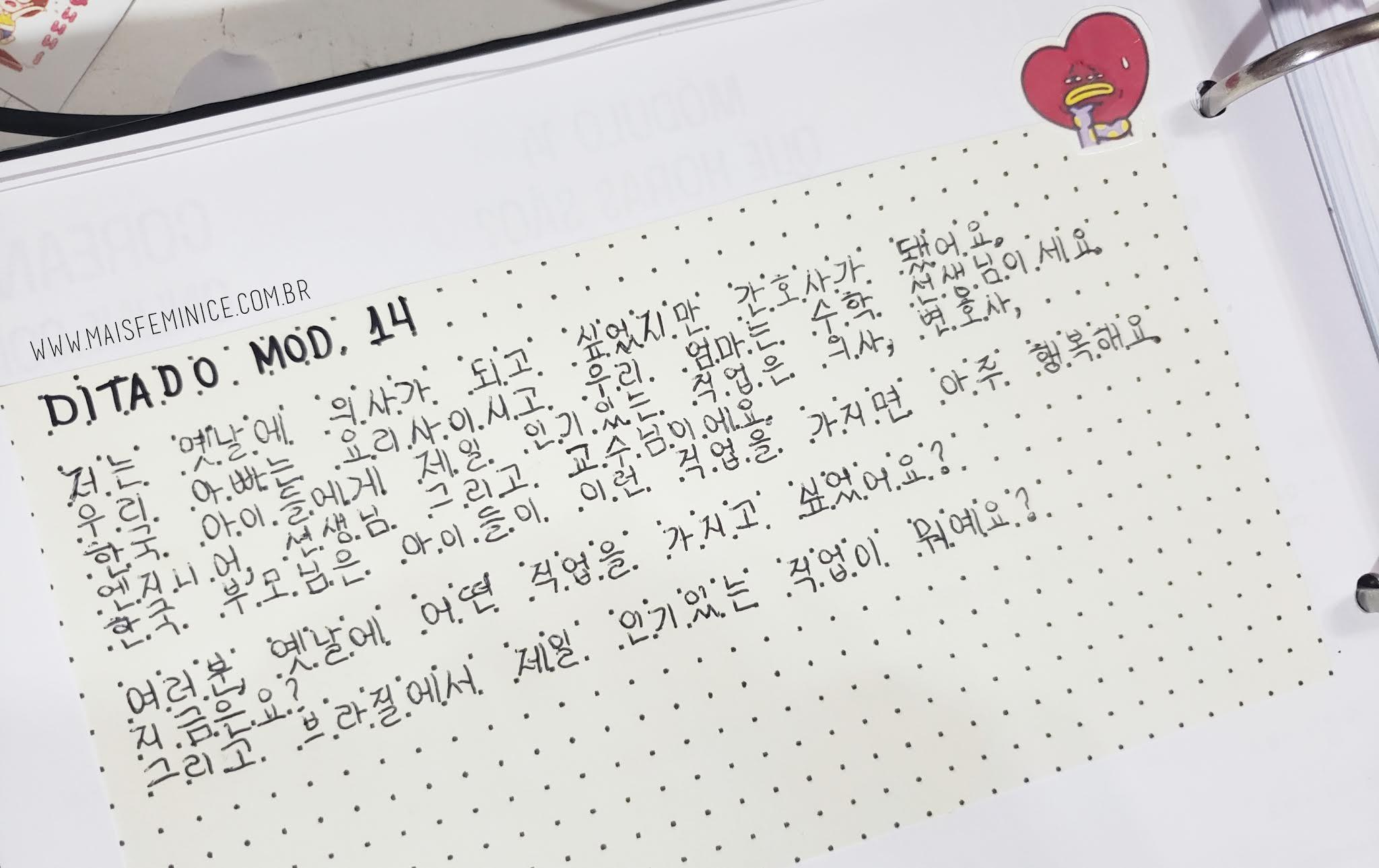 Treinando a letra em Hangul em papel quadriculado e pontilhado