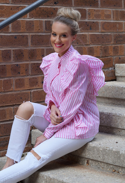 shein stripes pink ruffles chicago blogge