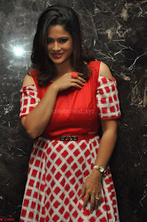 Shilpa Chakravarthy looks super cute in Red Frock style Dress 008.JPG