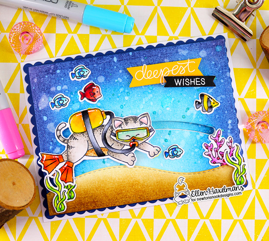Scuba Diving Cat Card by Ellen Haxelmans | Scuba Newton Stamp Set and Frames & Flags Die Set by Newton's Nook Designs #newtonsnook #handmade