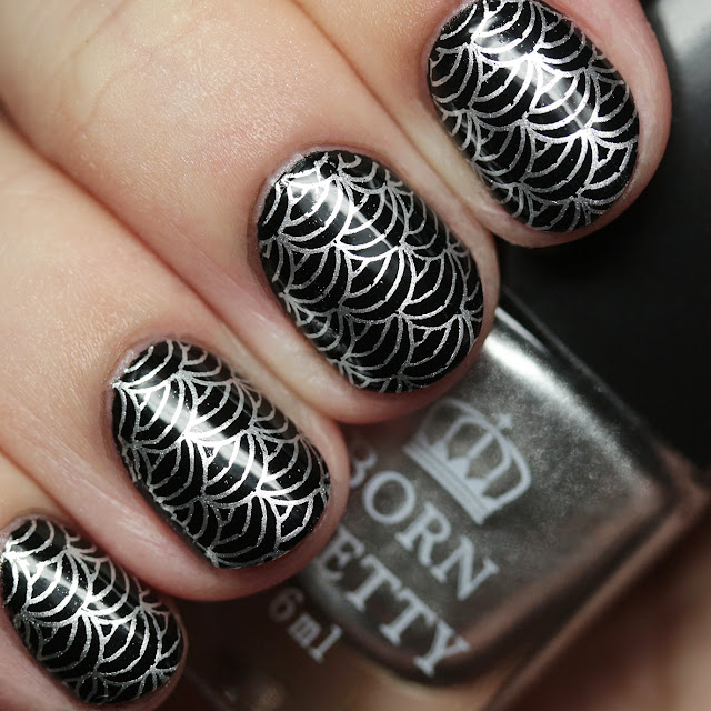 Born Pretty Store Stamping Plate BP-L060 with Stamping Polishes #2 Silver and #3 Black