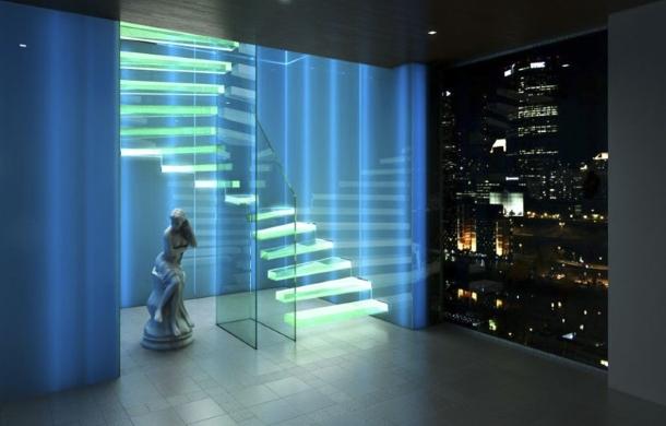 консольная лестница со стеклянными ступенями и подсветкой