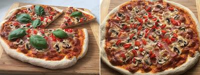 Pizza z szynką i pieczarkami