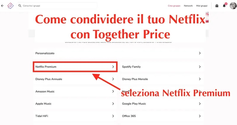 come condividere il tuo account netflix su together price