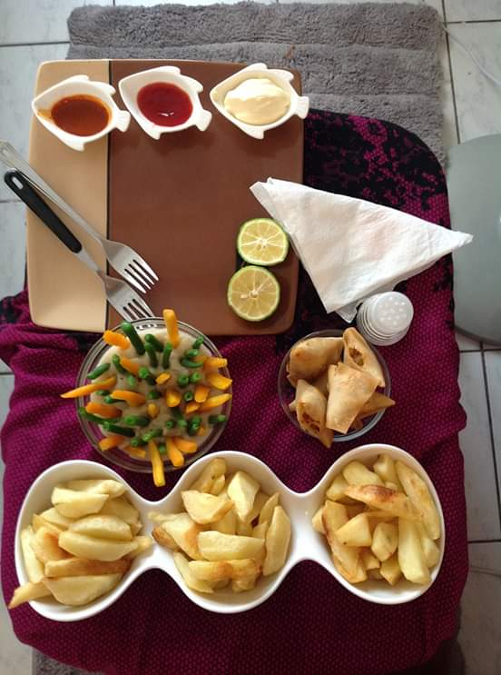 Chips/Fries Recipe, Samosa,Carrots and Green Beans Recipe