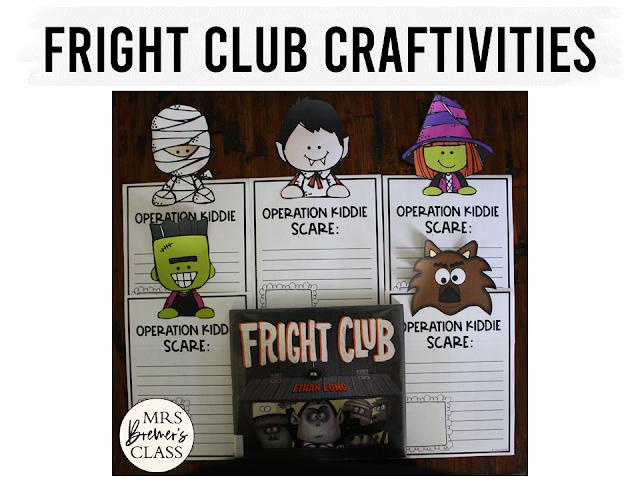 Fright Club book study unit Halloween Common Core literacy companion activities and craftivity K-1