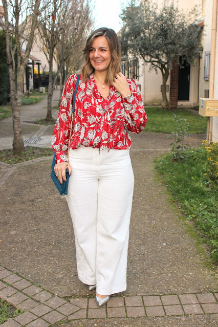 look du jour, blouse zara rouge, pantalon velours blanc, les petites bulles de ma vie