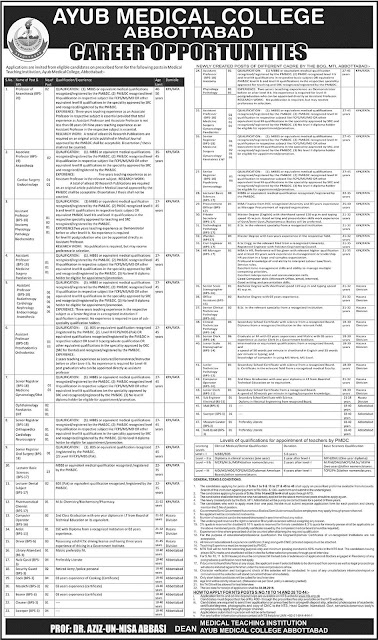 Teaching and Admin Jobs in Pakistan Ayub Medical College Abbottabad Jobs through NTS Jobs