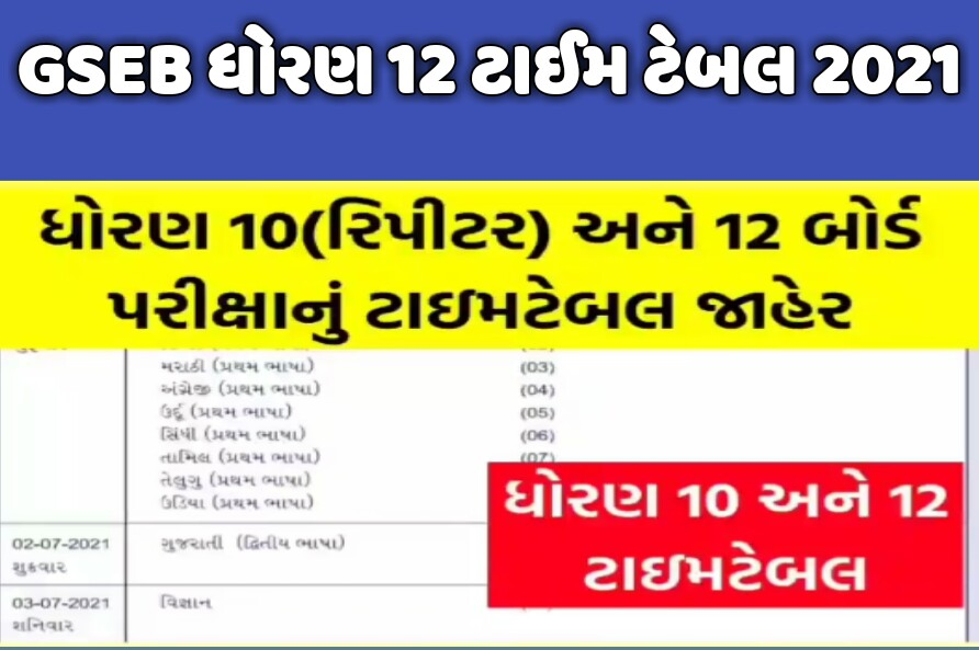 GSEB HSC Time Table 2021   Gujarat Board 12th Exam Time Table 2021