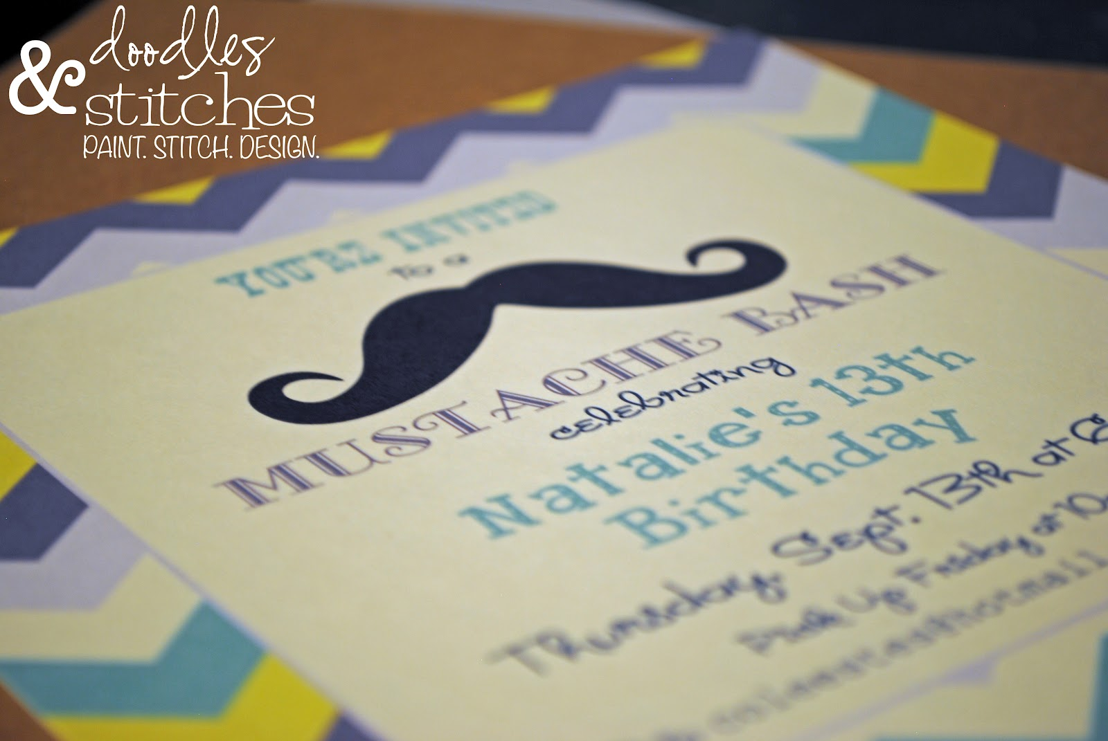 Mustache Bash Party Invitations - Doodles & Stitches