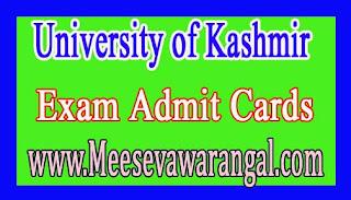 University of Kashmir UG 1st Year (Backlog) 2016 (Ist Sem 2015 Batch) Exam Admit Cards