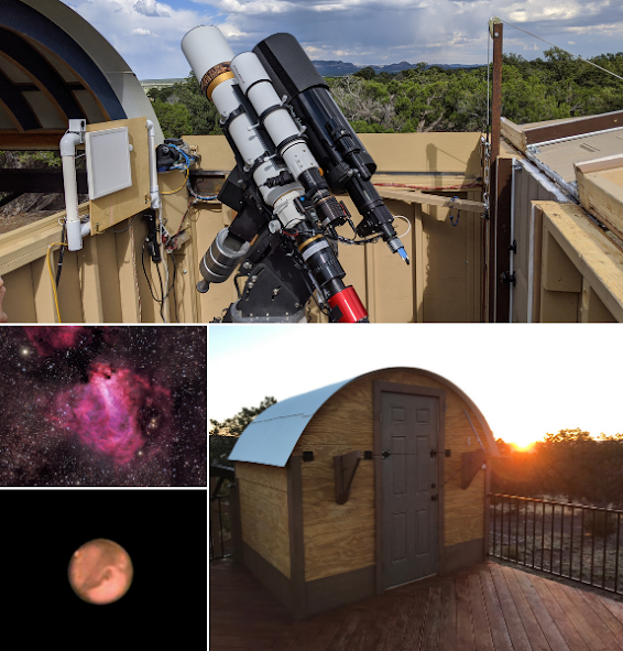 "ATEO-2A: 5"" Refractor and ATEO-2B: 6"" Classical Cassegrain reflector imaging telescopes with Messier 17, The Omega Nebula imaged with ATEO-2A, Mars imaged on ATEO-2B and Omega Observatory located at SkyPi Remote Observatory that houses ATEO-2A and ATEO-2B at Sunrise."