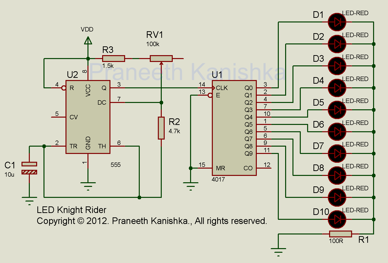 Knight Rider Circuit Diagram Led Schematics Great Installation Of Chaser Using Ic 555 And Cd 4017 Circuits Cd4017 Ne555 Scorpionz Electronic Rh Scopionz Blogspot Com Christmas Light Projects