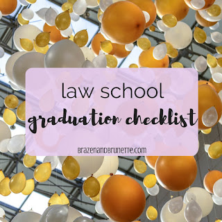 In less than 100 days I will be a law school graduate, and I have A LOT to get done before then! Here's a checklist of how I'm preparing for law school graduation. law school graduation photos. law school graduation invitations. law school graduation party. Bar Exam prep and checklist. job hunting after law school. law school blog. law student blogger | brazenandbrunette.com