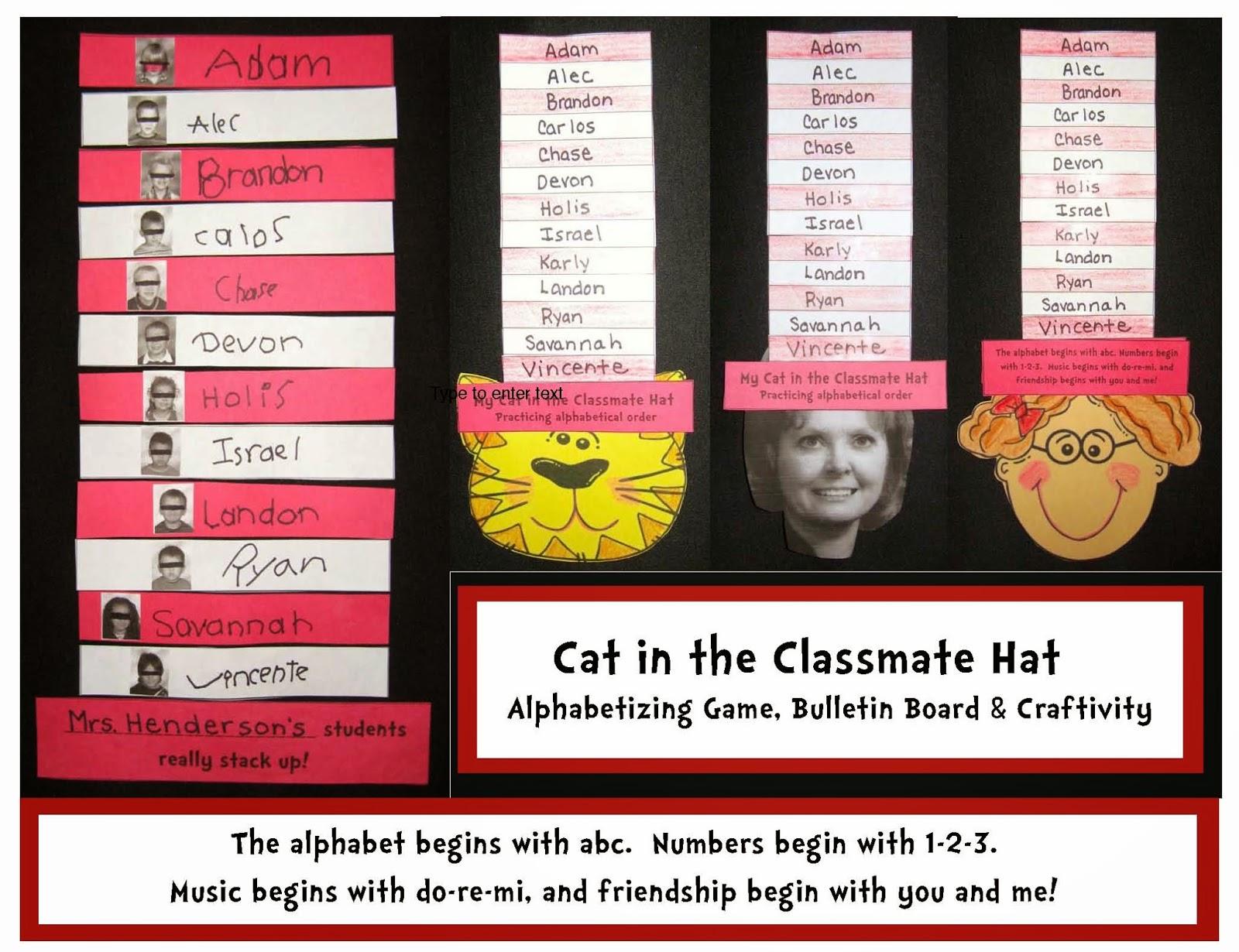 Classroom Freebies Cat In The Classroom Hat Alphabetizing