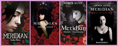 portadas de la novela juvenil de fantasía Meridian, de Amber Kizer