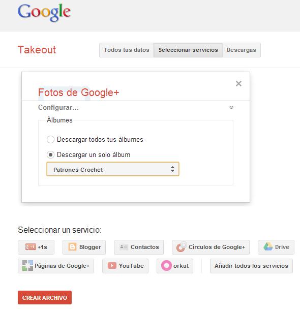 takeout, copias, seguridad, servicios google, blogger, google+, drive
