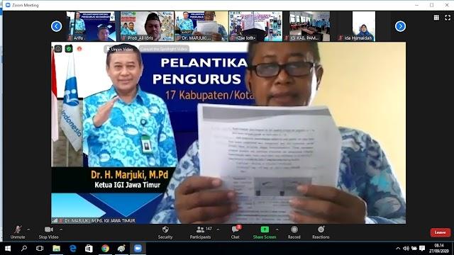 Lantik 17 IGI Daerah Kabupaten/Kota, IGI Jatim Siap Menjadi Best Practise Guru Merdeka Belajar