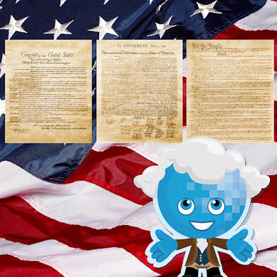 Splash standing in front of Constitution, Bill of Rights and Declaration of Independence