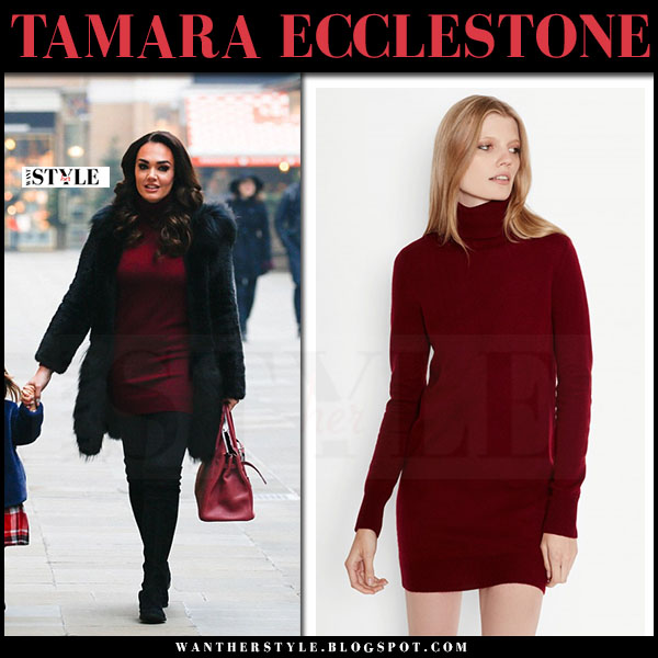 Tamara Ecclestone in black fur coat and burgundy mini dress equipment oscar what she wore