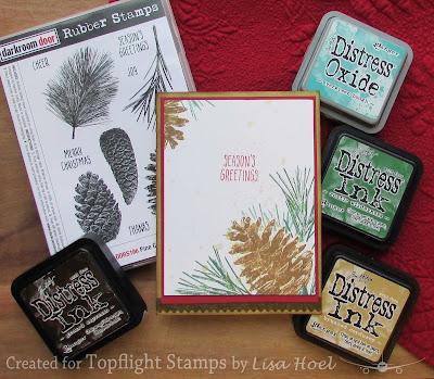 Lisa Hoel for Topflight Stamps - Christmas Card made with Darkroom Door stamps