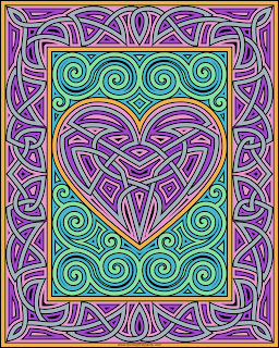 Knotwork heart and frame- blank version available to color