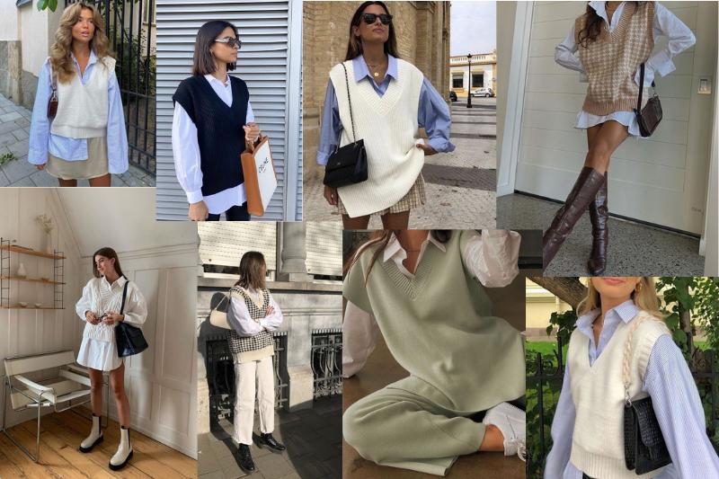 De spencer trend gecombineerd op verschillende manieren. Bijvoorbeeld over een blouse of coltrui.