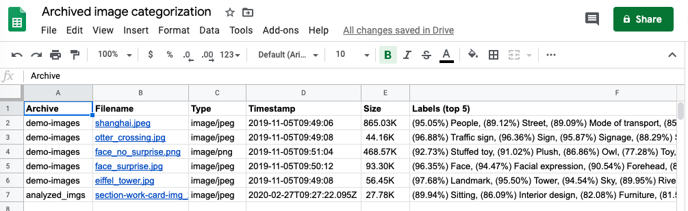 Image archive report in Google Sheets
