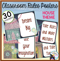 House Chalkboard Theme Rules Posters