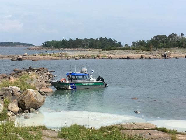 Metsähallituksen vene rannassa. Levälauttaa.