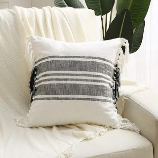 Thick black stripe tassel pillow