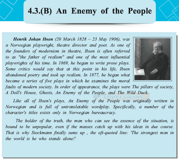 Chapter 4.4 - Extracts of Drama - (B) An Enemy of the People Balbharati solutions for English Yuvakbharati 11th Standard Maharashtra State Board