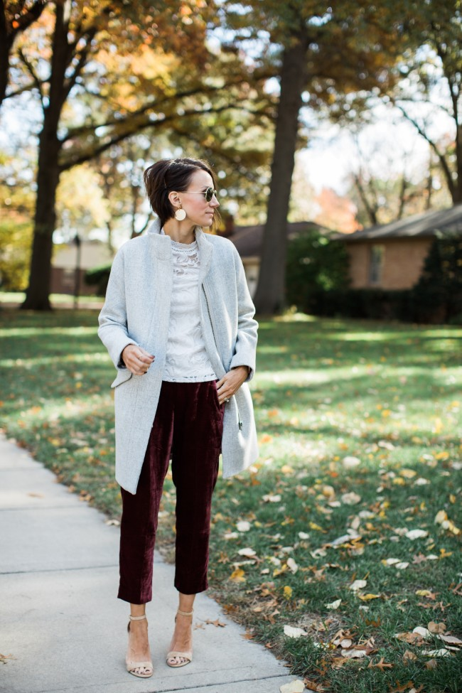 How to Style Velvet Pants with One Little Momma