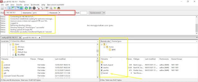 Test FTP Server pada Client