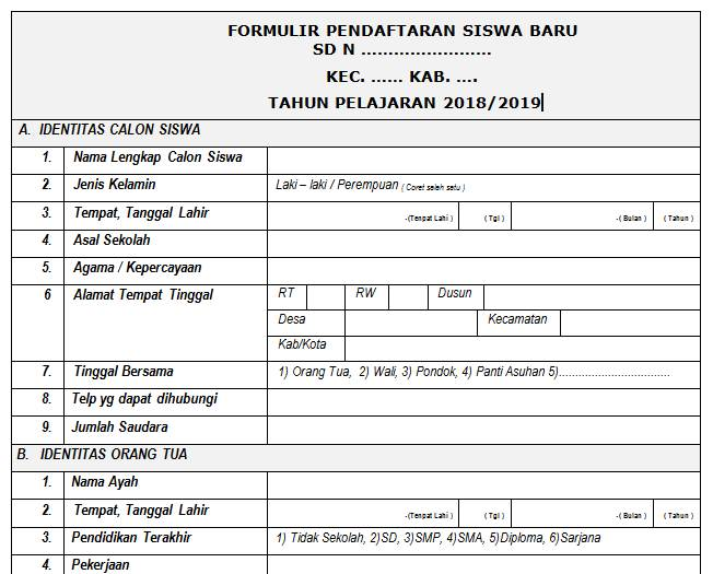 Contoh Formulir Pendaftaran Siswa Baru Dokumen Sekolah Dasar