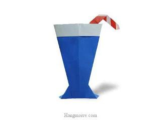 Cách gấp, xếp ly uống nước bằng giấy origami - Video hướng dẫn xếp hình đồ ăn - How to fold a Glass of water