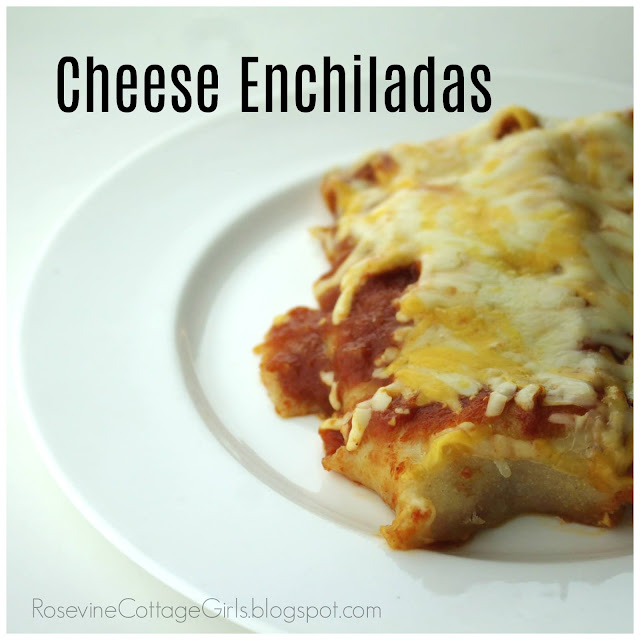 Cheese Enchiladas | white china plate with two cheese enchiladas on it | rosevinecottagegirls.com