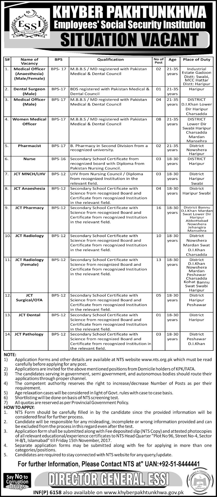 Jobs Khyber Pakhtunkhwa Employees Social Security Institution November 2017