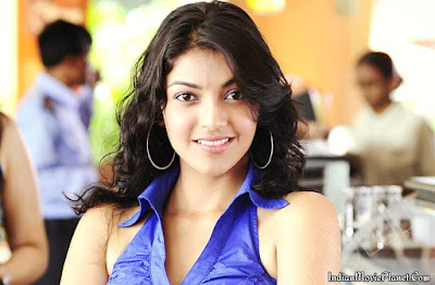 kajal agarwal beautiful blue dress stills wallpapers
